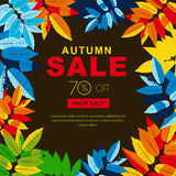 Autumn sale banners with multicolor autumn leaves. Vector fall poster background. Royalty Free Stock Images