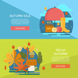 Autumn sale banners set. Poster, card, label, banner design set. Vector horizontal banners Royalty Free Stock Photography