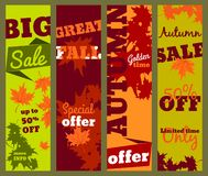 Autumn sale banners set, vector illustration royalty free illustration
