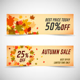 Autumn sale banners. Vector illustration Royalty Free Stock Photos