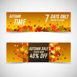 Autumn sale banners. Royalty Free Stock Photos