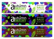 Autumn sale banners. Vector illustration Stock Photo