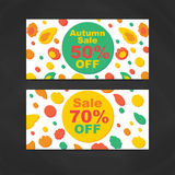 Autumn Sale Banners. Vector Illustration. Abstract geometric design. Floral elements. Discount Modern Flyer Royalty Free Stock Images