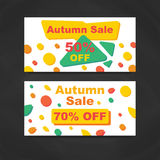 Autumn Sale Banners. Vector Illustration. Abstract geometric design. Memphis style. Discount Modern Flyer Stock Photos