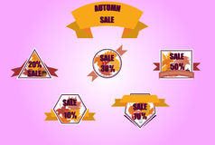 Autumn SALE Banners. Vector Autumn SALE Banners on Leafs up to 70 off Royalty Free Stock Image