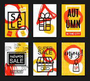 Autumn sale banners for web and print. Poster, Card, Flyer, Banner Design. Vector Illustration. Stock Images