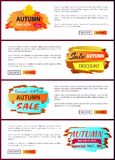 Autumn Sale Best Offer Discounts Big Choice 2017. Autumn sale best offer discounts only today premium choice 2017 off set of vector posters with text online web Stock Image