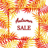 Autumn sale border. Autumn sale banner, frame, border with colorful hand draw autumn leaves. Fall sale design poster background. Layout for discount labels Royalty Free Stock Image