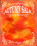 Autumn sale. Bright orange background with leaves. Banner, poster. Vector illustration Stock Image