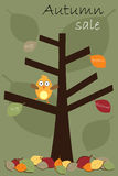 Autumn sale brochure. Illustration of a sale brochure with a tree and a cute bird.EPS file available Royalty Free Stock Photography