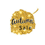 Autumn Sale brush lettering. Gold glitter banner design with sparkles on white background. Seasonal discount fall poster Royalty Free Stock Photos