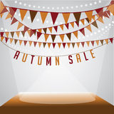Autumn sale bunting background. EPS 10 vector royalty free stock illustration for greeting card, ad, promotion, poster, flier, blog, article, social media Stock Photo