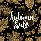 Autumn Sale Calligraphy Phrases en fondo de las hojas libre illustration