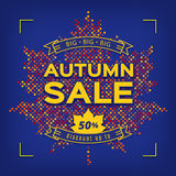 Autumn Sale card design template, Fall discount poster, advertising banner Royalty Free Stock Images