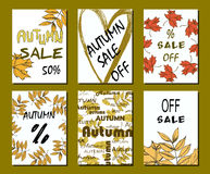 Autumn sale card, illustration. banners and design elements for print Royalty Free Stock Image