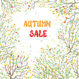 Autumn sale card with leaves and branches Stock Photos