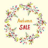 Autumn sale card with wreath of leaves and flowers Royalty Free Stock Photos
