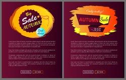 Autumn Sale Choice Hanging Label sul manifesto di vettore Fotografia Stock Libera da Diritti