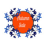 Autumn sale circle banner. Vector discount offer with flower frame. Cartoon stock illustration