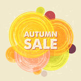 Autumn sale with circles, grunge drawn label Stock Images