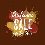 Autumn sale colorful concept. Vector watercolor splash background with leaves and lettering for advertising, posters, banners, shop flyers, discount designs stock illustration