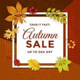 Autumn Sale com projeto do molde do cartaz do disconto ilustração do vetor