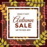 Autumn Sale com projeto relativo à promoção do molde do disconto ilustração stock