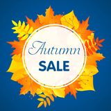 Autumn sale concept background, flat style royalty free illustration