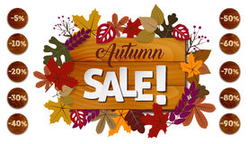 Autumn sale concept with different size of discounts Royalty Free Stock Image