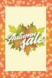 Autumn sale. Concept of poster. Applicable for advertising and promotion, season offer, design gift card, flyer or Stock Image