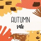 Autumn Sale Design. Abstract autumn sale design with colorful brush strokes in yellow, red, brown and orange on white background. Modern and creative poster Stock Images