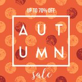 Autumn Sale Design. Abstract autumn sale design with text on colorful textured dots background. Poster, brochure or greeting card square template with sample Royalty Free Stock Photography