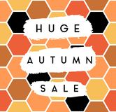 Autumn Sale Design. Abstract autumn sale design with text on white brush strokes on colorful hexagon pattern background. Poster, brochure or greeting card square Stock Images