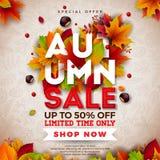 Autumn Sale Design con las hojas que caen y el poner letras en fondo ligero Ejemplo otoñal del vector con el Special ilustración del vector