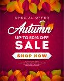 Autumn Sale Design met Dalende Bladeren en het Van letters voorzien op Rode Achtergrond Herfst Vectorillustratie met Speciale aan royalty-vrije illustratie