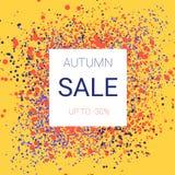 Autumn Sale Design O respingo de cores brilhantes da queda, sem árvore banal sae Foto de Stock Royalty Free