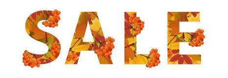 Autumn Sale Design Remise de chute L'inscription avec les feuilles d'érable et la branche de la sorbe Peut être employé dans les  Photographie stock libre de droits