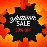 Autumn sale design template with hand written lettering for poster, card, label, banner. Stock Photography