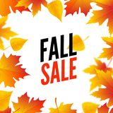 Autumn sale design template poster. Fall promotional flyer. Autumn Discounts offers design with leaves.  stock illustration