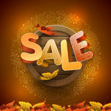 Autumn sale design. Vector 3d autumn sale design with wood background and leaf icon frame Royalty Free Stock Photography
