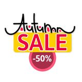 Autumn sale. Discount in fall. Cute creative hand drawn lettering. Seasonal design. Flyer, advertising, banner. Signboard. Vector illustration eps10 royalty free illustration