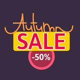Autumn sale. Discount in fall. Cute creative hand drawn lettering. Seasonal design. Flyer, advertising, banner. Signboard. Vector illustration eps10 stock illustration