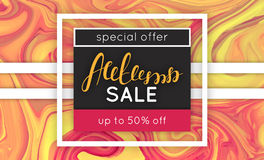 Autumn sale. Discount in fall. Marbling. Marble texture. Vector abstract colorful background. Paint splash Stock Photo