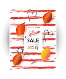 Autumn Thanksgiving Sale. Autumn Sale discount gift cards. Fall maple leaves abstract background. Save up to half price leaflet. Shop whole sale coupon & Royalty Free Stock Photo