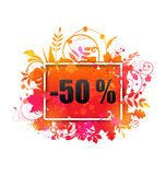 Autumn Sale -50% Discount, Grunge Banner,. Illustration Autumn Sale -50 Discount, Grunge Banner, Watercolor Style - Vector Stock Photography