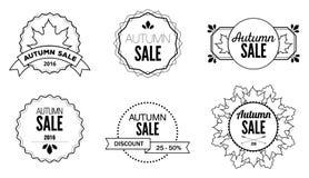 Autumn Sale Discount Logos en Emblemen Stock Fotografie