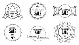 Autumn Sale Discount Logos et emblèmes Photographie stock