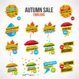 Autumn Sale Discount Logos ou emblèmes réglés illustration stock
