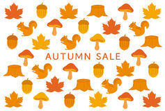 Autumn sale DM with autumn icons. Royalty Free Stock Photo