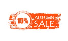 Autumn sale drawn banner with 15 percentages and fall leaf royalty free illustration